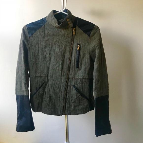 fb5c9a0e6 ZARA Motorcycle Jacket, Army Green & Pleather, XS
